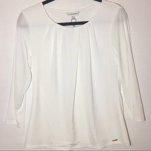 Calvin Klein White Scoop Neck Blouse Medium